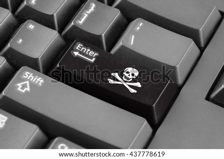 Enter button with The traditional Jolly Roger of piracy Flag - stock photo