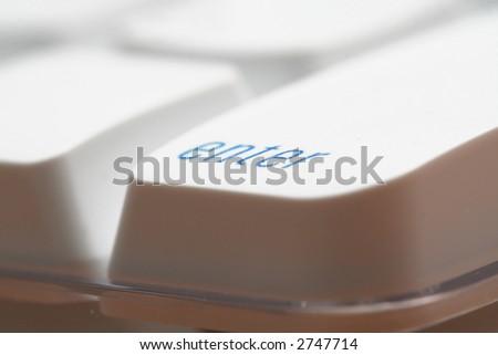 enter key, in light blue color - stock photo