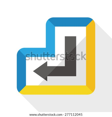 enter keyboard flat icon with long shadow - stock photo