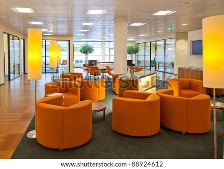 enter room in bank office - stock photo