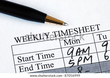 Enter the weekly time sheet concepts of work hours reporting - stock photo