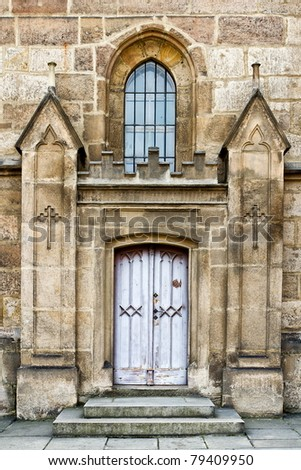 enter to gothic church - stock photo