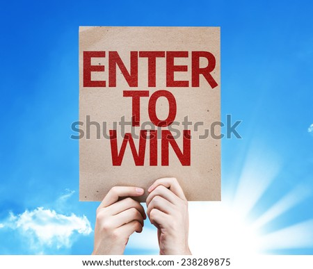 Enter to Win card with a beautiful day - stock photo