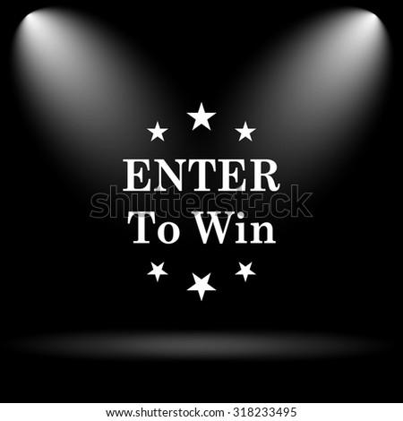 Enter to win icon. Internet button on black background. - stock photo
