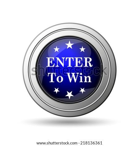 Enter to win icon. Internet button on white background.  - stock photo