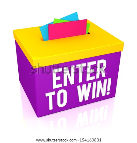 Enter To Win words on a colorful box isolated on white background - stock photo