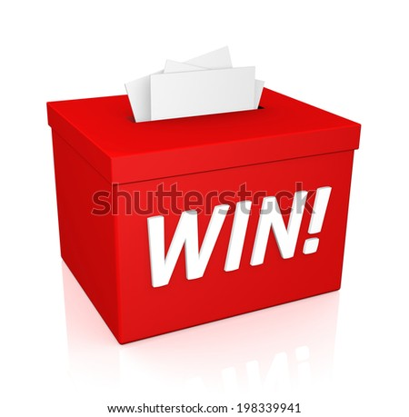 Enter To Win words on a red box isolated on white background - stock photo