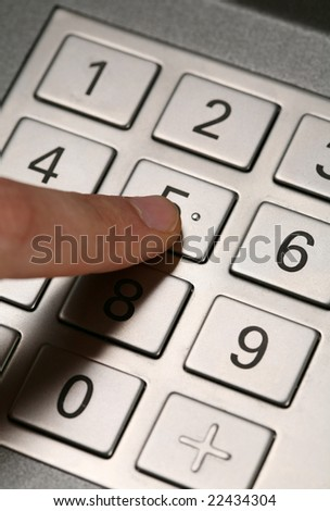 entering code - stock photo