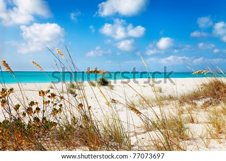 Entering Half Moon Bay from the dunes, Big Water Cay, Turks & Caicos - stock photo