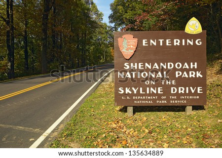 Entering Shenandoah National Park Virginia - stock photo