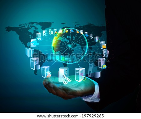 Enterprise Application connectivity and Integration in business man hand - stock photo