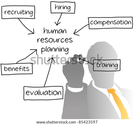 Enterprise HR manager drawing a company human resources business plan - stock photo