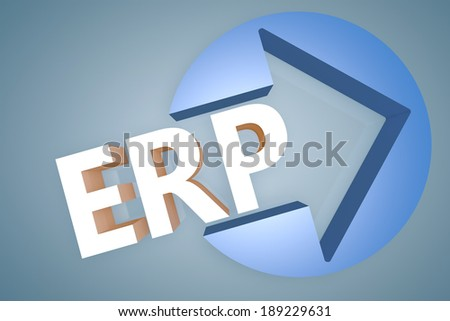 Enterprise Resource Planning - acronym 3d render illustration concept with a arrow in a circle on blue-grey background - stock photo