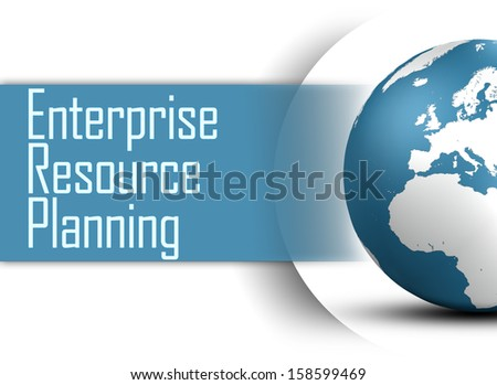 Enterprise Resource Planning concept with globe on white background - stock photo
