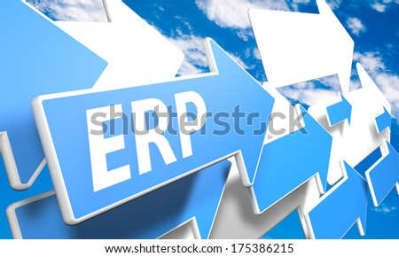 Enterprise Resource Planning 3d render concept with blue and white arrows flying in a blue sky with clouds - stock photo