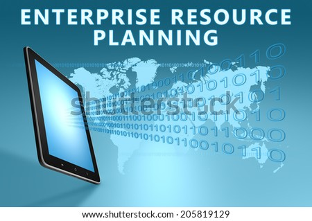 Enterprise Resource Planning illustration with tablet computer on blue background - stock photo