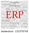 Enterprise Resource Planning System ERP in word tag cloud - stock photo