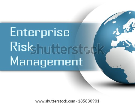 Enterprise Risk Management  concept with globe on white background