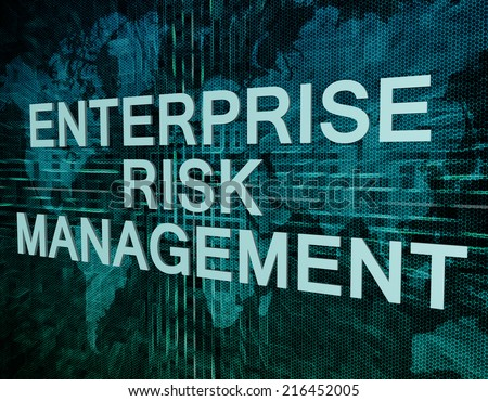 Enterprise Risk Management text concept on green digital world map background  - stock photo