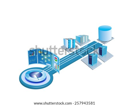 Enterprise System integration architecture template, The users can place relevant system and monitoring images at the empty places and build their own architecture images. - stock photo
