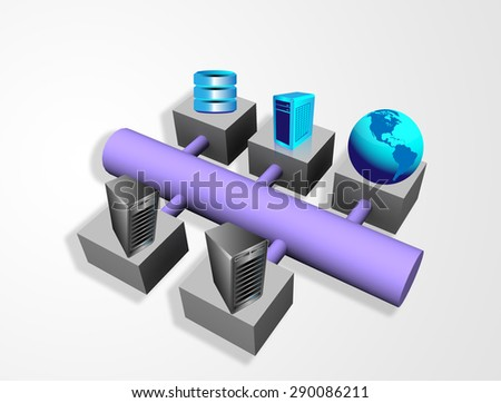 Enterprise System integration architecture, This image illustrates various enterprise, legacy, database systems and applications are connected through a bus topology - stock photo