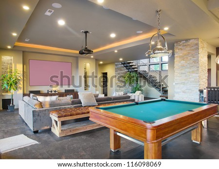 Entertainment Center and Rec Room in Luxury Home - stock photo