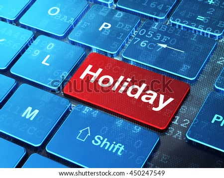 Entertainment, concept: computer keyboard with word Holiday on enter button background, 3D rendering