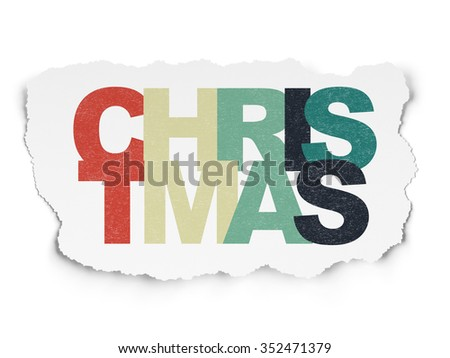 Entertainment, concept: Painted multicolor text Christmas on Torn Paper background - stock photo