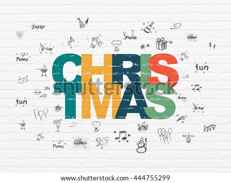 Entertainment, concept: Painted multicolor text Christmas on White Brick wall background with  Hand Drawn Holiday Icons - stock photo