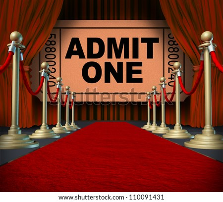 Entertainment on the red carpet theatrical cinema concept with an admit one movie ticket behind red velvet curtains and drapes as a symbol of an important creative stage performance event. - stock photo