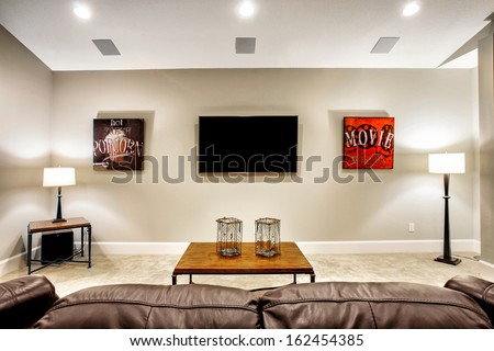 Entertainment Room in New Home - stock photo