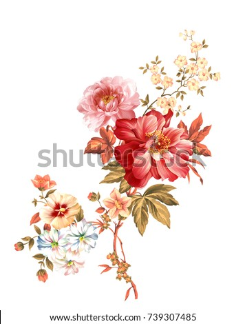 Enthusiasm is bold and unrestrained of flowers, the leaves and flowers art design