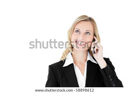 Enthusiastic caucasian businesswoman talking on phone against white background - stock photo