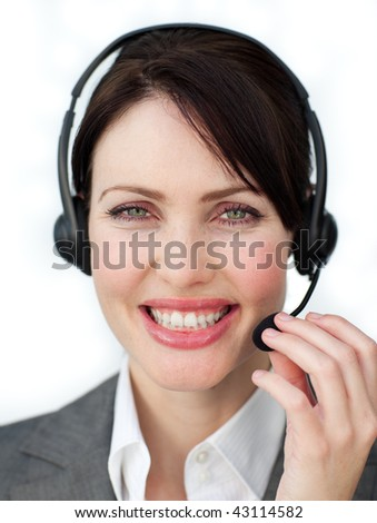 Enthusiastic customer service agent using headset