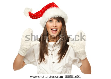 Enthusiastic girl in Santa hat shouting Xmas news, isolated on white background