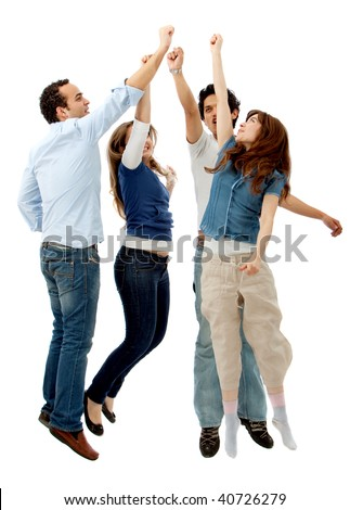 Enthusiastic group jumping making a high five isolated