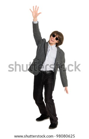 Enthusiastic young businessman with his hand extended upwards.