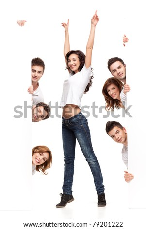 enthusiastic young woman between white boards friends