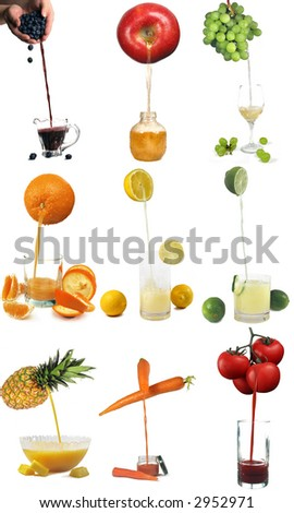Entire Pure Natural Fruit Juice series (pouring straight from the fruits/vegetables, into the containers!) - stock photo