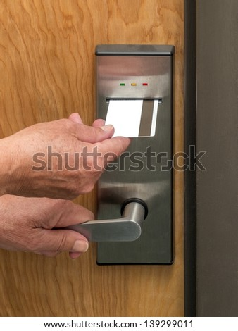 Entrance access keypad  to an apartment building - stock photo