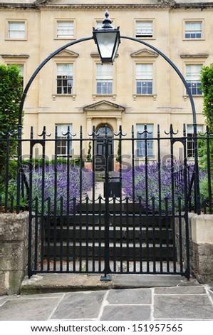 Entrance and Gateway of a Luxurious Georgian Era English Town House  - stock photo
