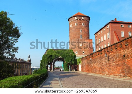 Entrance and Tower of Wawel Royal Castle, Krakow, Poland - stock photo
