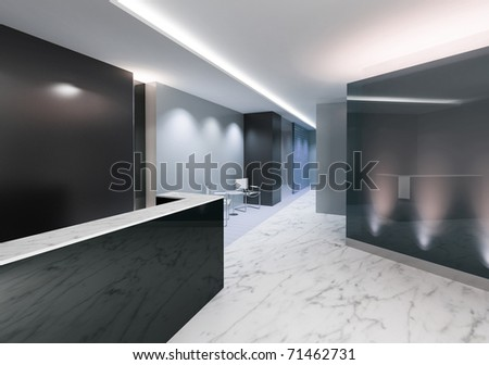 Entrance area of an office with modern decoration - stock photo