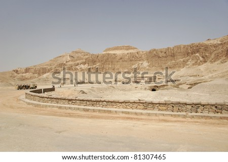 Entrance area of the Hatshepsut Temple in Deir el-Bahri . Thebes west, Egypt.