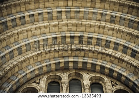 Entrance detail at Natural History Museum at London. Highly detailed stone, dark styled. - stock photo