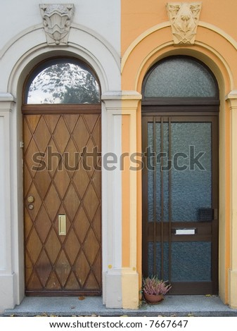 entrance doors from a natural tree with the arched vaults and glass