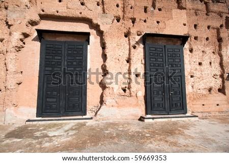 Entrance doors in the El Badi Palace in Marrakech, Morocco - stock photo