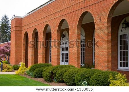Entrance facade of a hometown city hall - stock photo