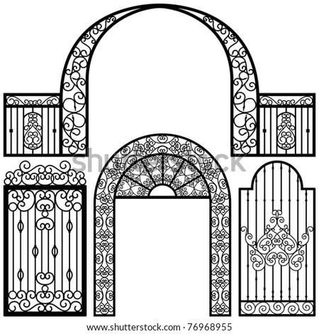 Entrance Gate Door Fence Vintage Retro Ancient Garden - stock photo