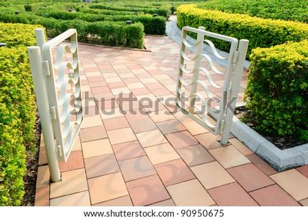 Entrance gate of outdoor garden - stock photo